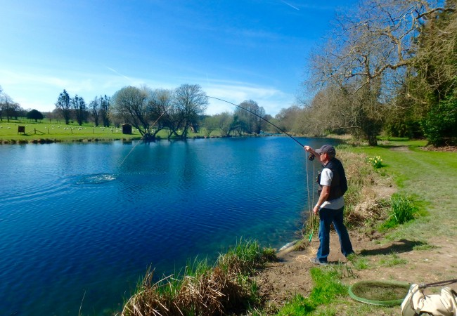 Fly fishing Avington Fishery, Hampshire